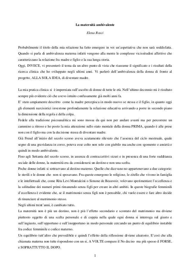 Elena Rosci - La Maternità Ambivalente