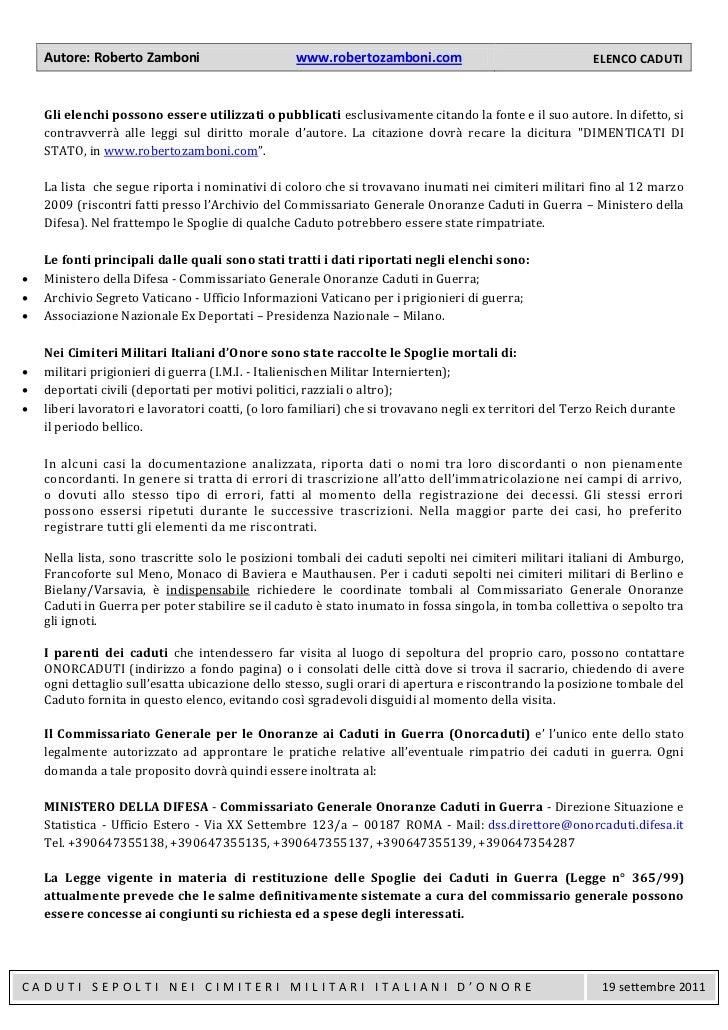 Autore: Roberto Zamboni                       www.robertozamboni.com                                 ELENCO CADUTI    Gli ...