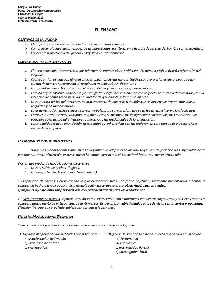 """Colegio Don OrioneDepto. De Lenguaje y ComunicaciónII Unidad """"El Ensayo""""Cuartos Medios 2012Profesora Paola Peña Aburto    ..."""