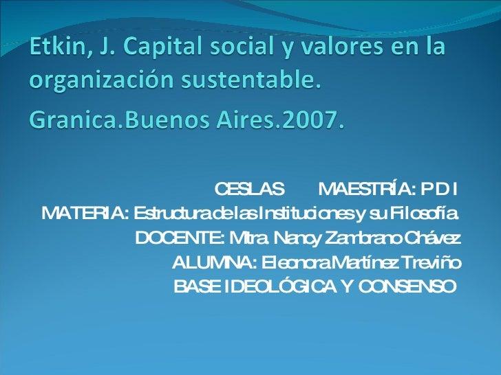 CESLAS  MAESTRÍA: P D I MATERIA: Estructura de las Instituciones y su Filosofía. DOCENTE: Mtra. Nancy Zambrano Chávez ALUM...