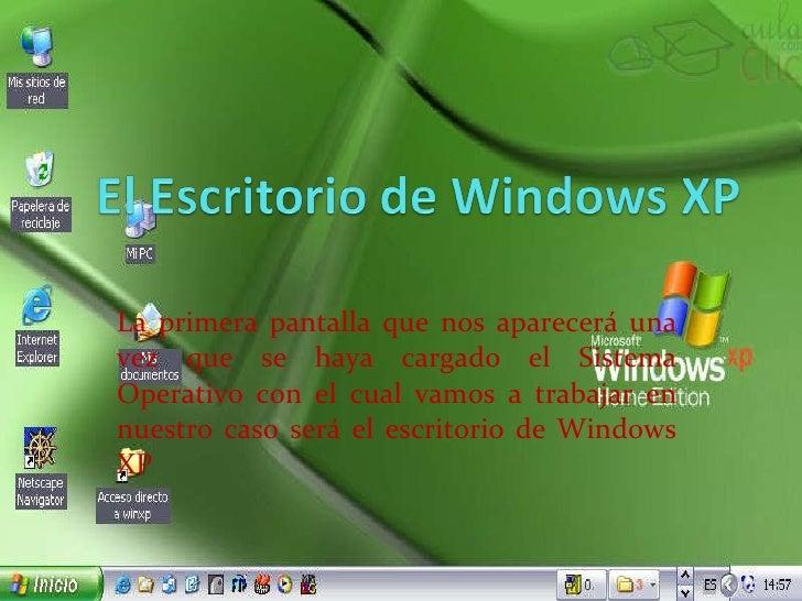 La primera pantalla que nos aparecerá una vez que se haya cargado el Sistema Operativo con el cual vamos a trabajar en nue...