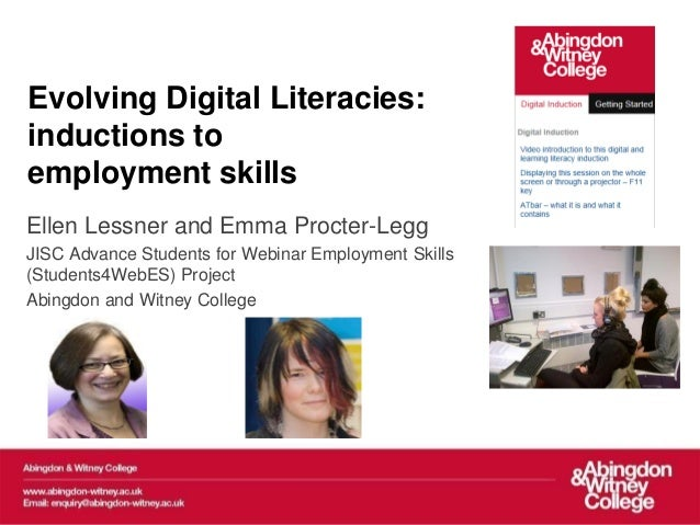 Elesig 2013 webinar  on Evolving Digital literacies: inductions to employment skills