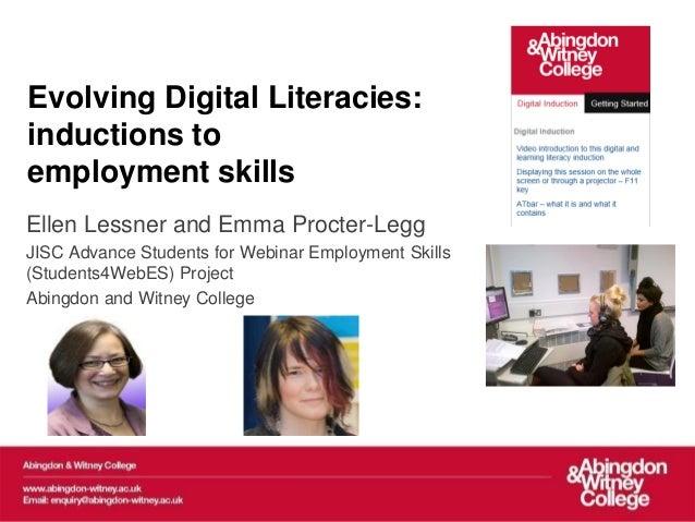 Elesig 2013 webinar  on Evolving Digital literacies: inductions to employment skills