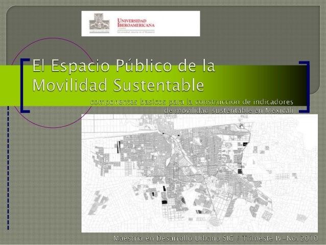 El espacio público de la movilidad sustentable