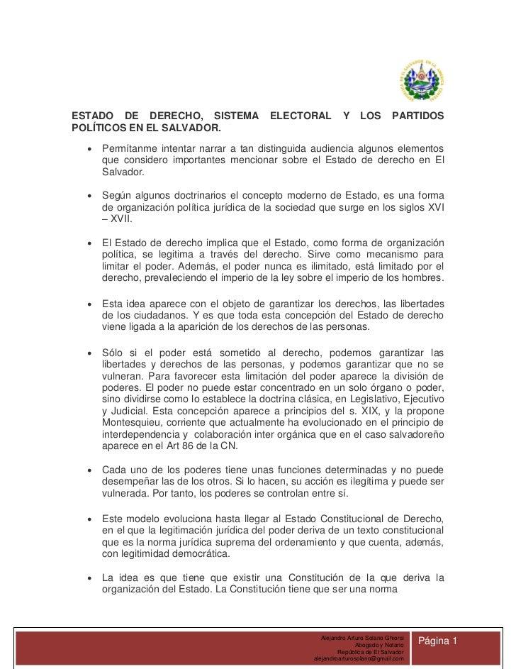 ESTADO DE DERECHO, SISTEMA                  ELECTORAL           Y      LOS         PARTIDOSPOLÍTICOS EN EL SALVADOR.     ...