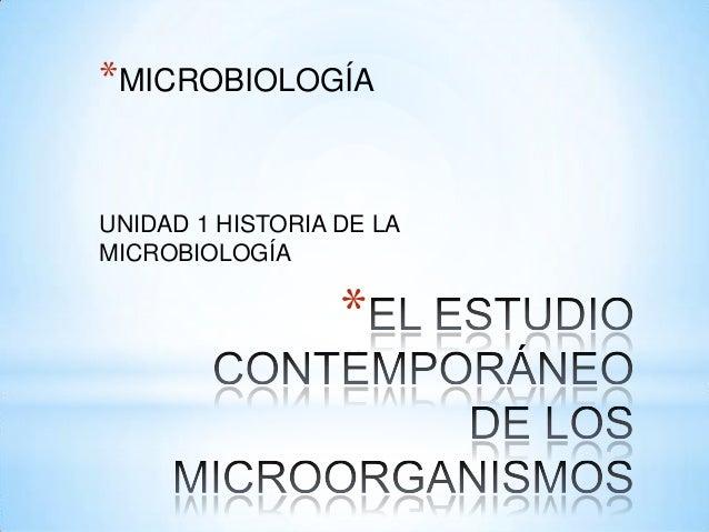 *MICROBIOLOGÍAUNIDAD 1 HISTORIA DE LAMICROBIOLOGÍA                  *