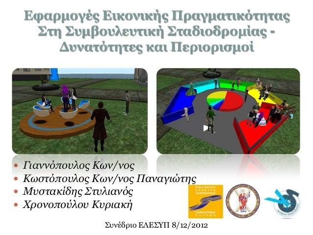 Εφαρμογές Εικονικής Πραγματικότητας     Στη Συμβουλευτική Σταδιοδρομίας -        Δυνατότητες και Περιορισμοί   Γιαννόπουλ...