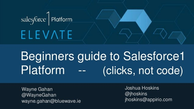 Beginners guide to Salesforce1 Platform -- (clicks, not code) Wayne Gahan @WayneGahan wayne.gahan@bluewave.ie Joshua Hoski...