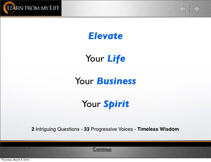 Elevate                                                   Your Life                                              Your Busi...