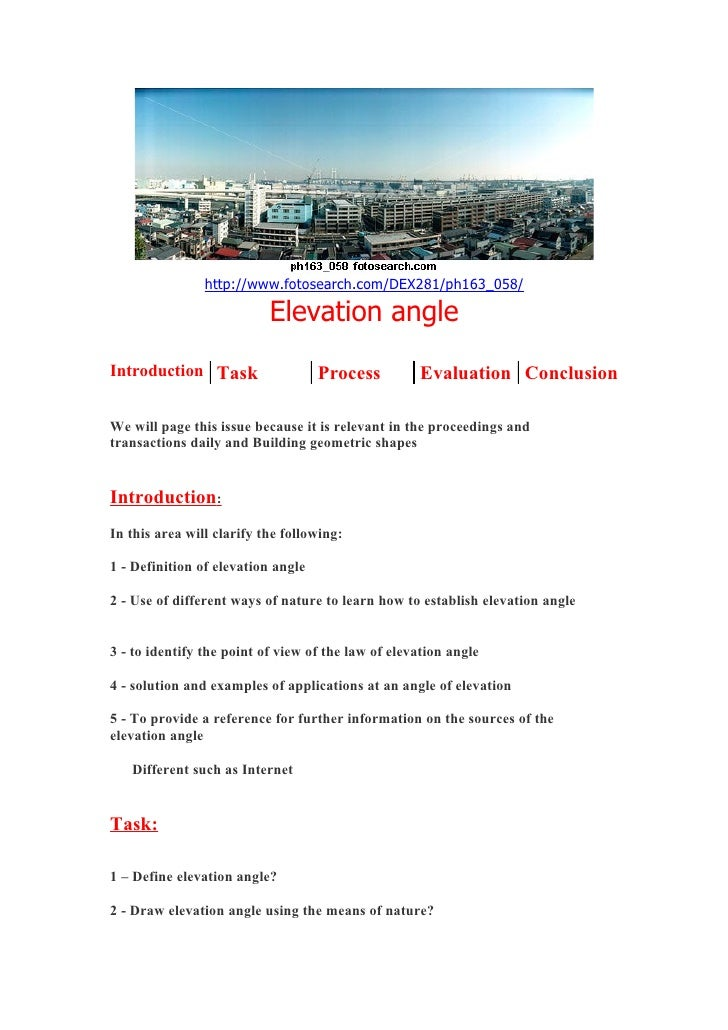 http://www.fotosearch.com/DEX281/ph163_058/                             Elevation angle Introduction Task                 ...