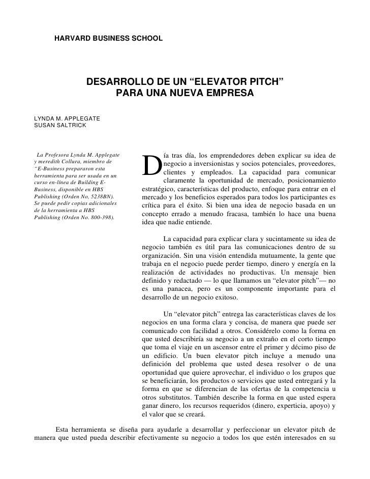 """HARVARD BUSINESS SCHOOL                         DESARROLLO DE UN """"ELEVATOR PITCH""""                         PARA UNA NUEVA E..."""