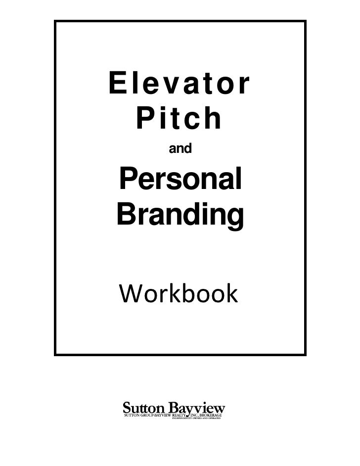 Elevator          Pitch               and           Personal          Branding               Workbook                     ...