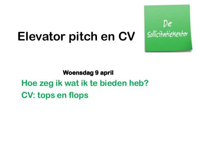 elevator pitch en cv