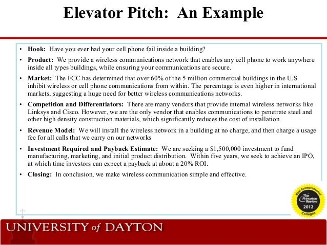 Successful elevator pitch examples