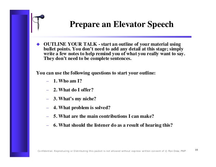 Elevator Speech Template C06 Business Elevator Pitch