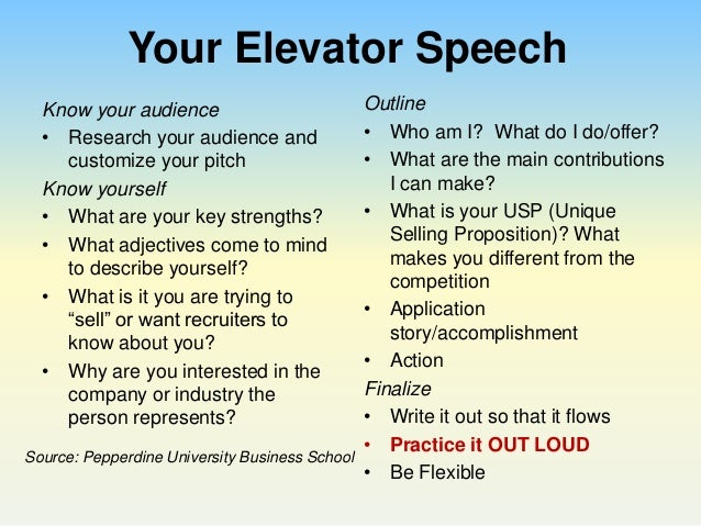 Examples of a 30-Second Elevator Pitch