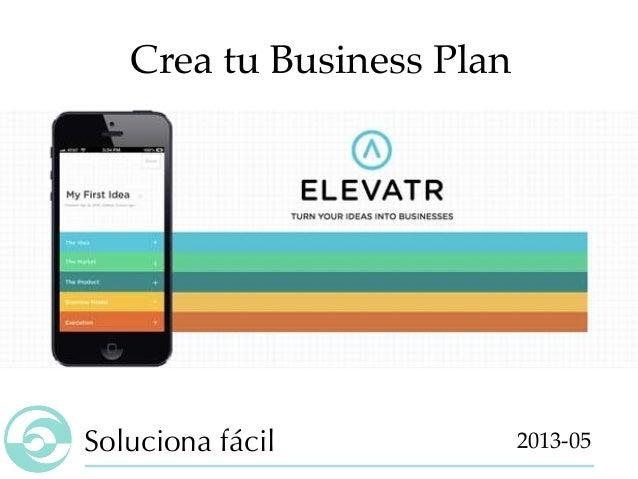 Elevatr, crear tu startup business plan