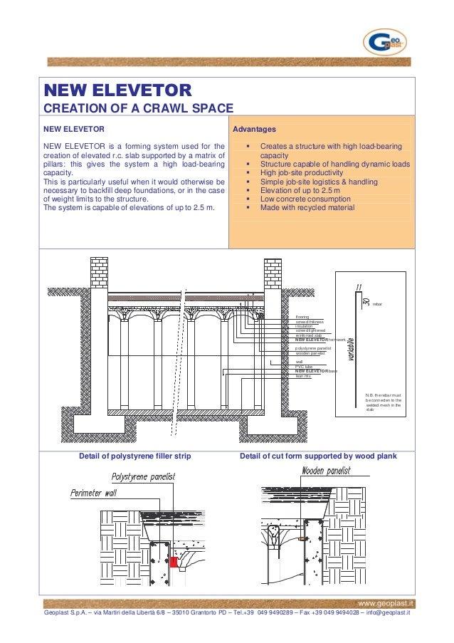 CREATION OF A CRAWL SPACENEW ELEVETOR                                                       AdvantagesNEW ELEVETOR is a fo...