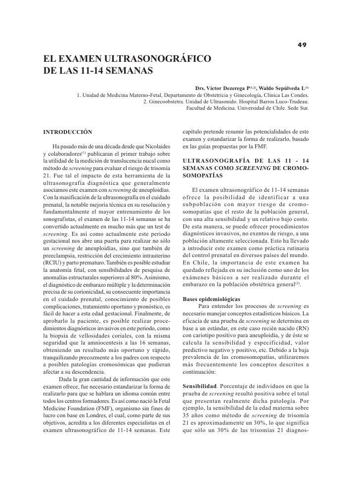 El examen ultrasonográfico de las 11-14 semanas                                                             49  EL EXAMEN ...