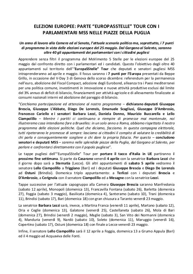 """ELEZIONI EUROPEE: PARTE """"EUROPA5STELLE"""" TOUR CON I PARLAMENTARI M5S NELLE PIAZZE DELLA PUGLIA Un anno di lavoro alla Camer..."""