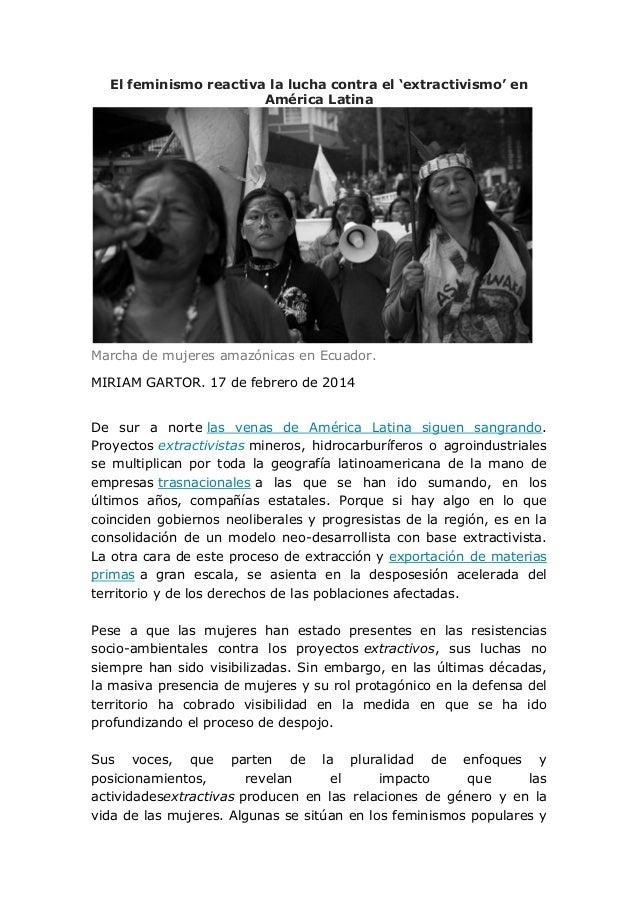 El feminismo reactiva la lucha contra el 'extractivismo' en América Latina