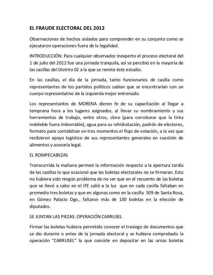 EL FRAUDE ELECTORAL DEL 2012Observaciones de hechos aislados para comprender en su conjunto como seejecutaron operaciones ...