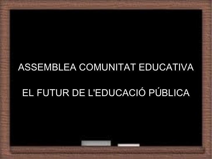 Recommendation of a StrategyASSEMBLEA COMUNITAT EDUCATIVA             TitleEL FUTUR DE LEDUCACIÓ PÚBLICA