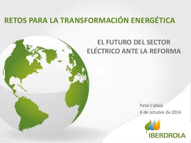 RETOS PARA LA TRANSFORMACIÓN ENERGÉTICA  Patxi Calleja  8 de octubre de 2014  EL FUTURO DEL SECTOR ELÉCTRICO ANTE LA REFOR...