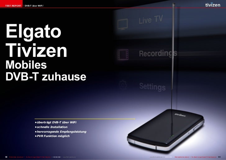 TEST REPORT                    DVB-T über WiFiElgatoTivizenMobilesDVB-T zuhause                                           ...