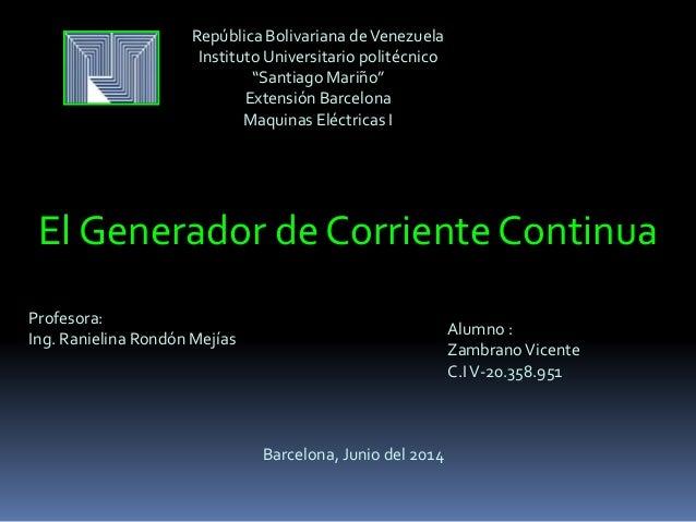El generador de corriente continua - Generador de corriente ...