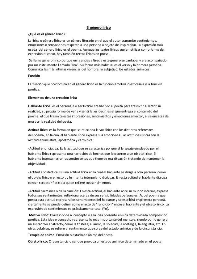 El género lírico ¿Qué es el género lirico? La lírica o género lírico es un género literario en el que el autor transmite s...