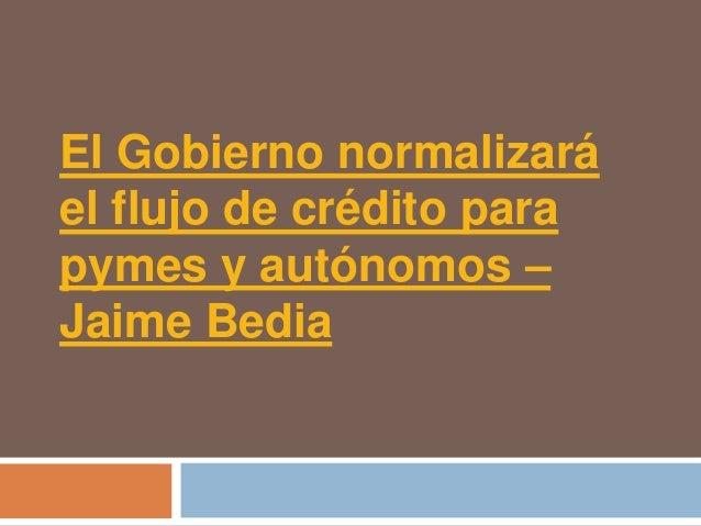 El Gobierno normalizaráel flujo de crédito parapymes y autónomos –Jaime Bedia