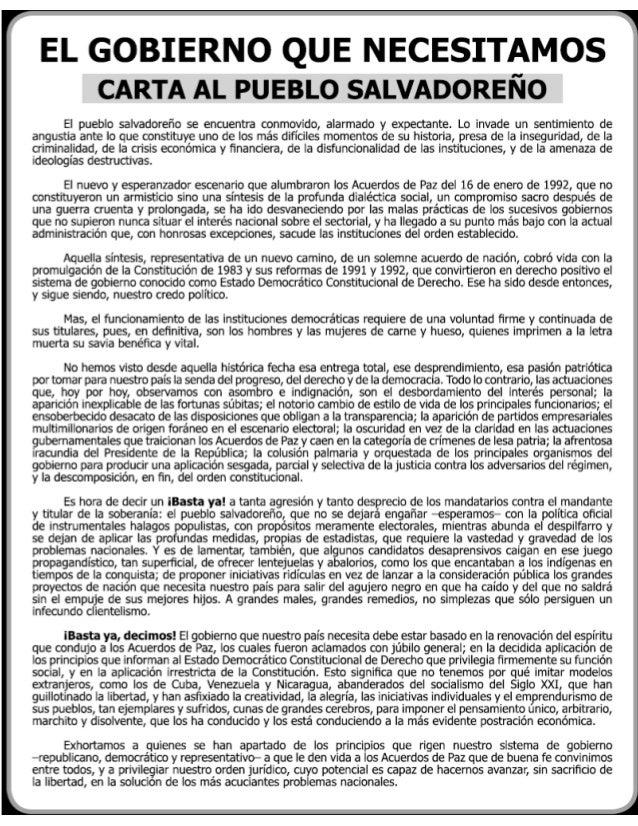 El gobierno que necesitamos, Carta al Pueblo Salvadoreño