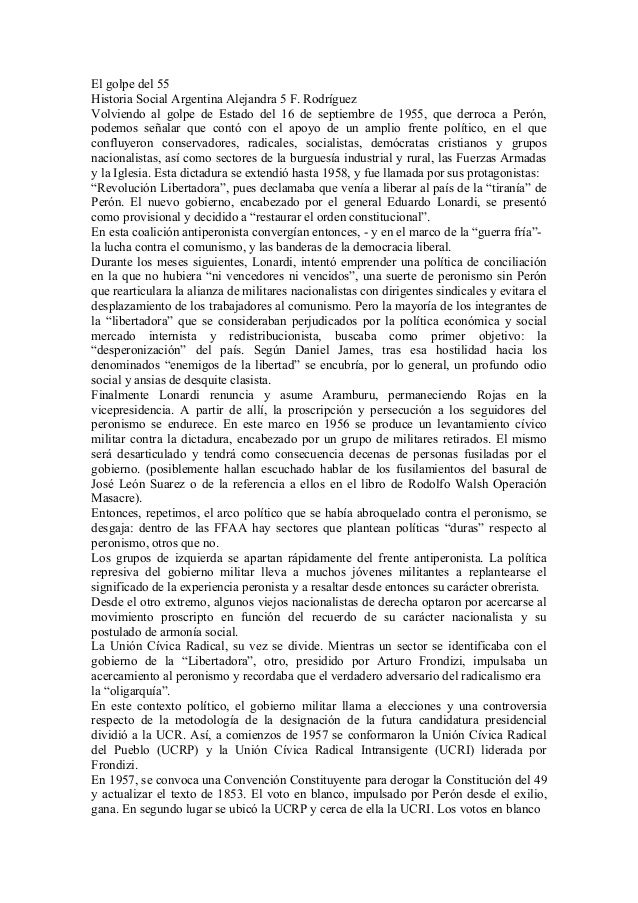 El golpe del 55Historia Social Argentina Alejandra 5 F. RodríguezVolviendo al golpe de Estado del 16 de septiembre de 1955...