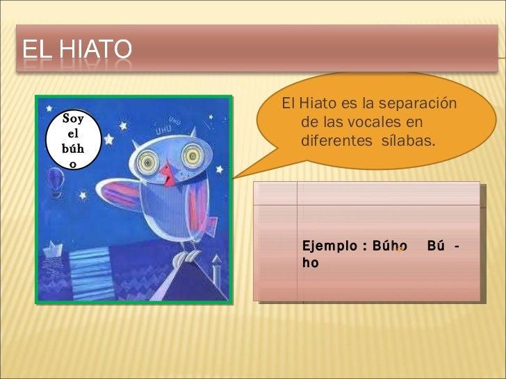 <ul><li>El Hiato es la separación de las vocales en  diferentes  sílabas. </li></ul>Soy el búho Ejemplo : Búho  Bú  -  ho