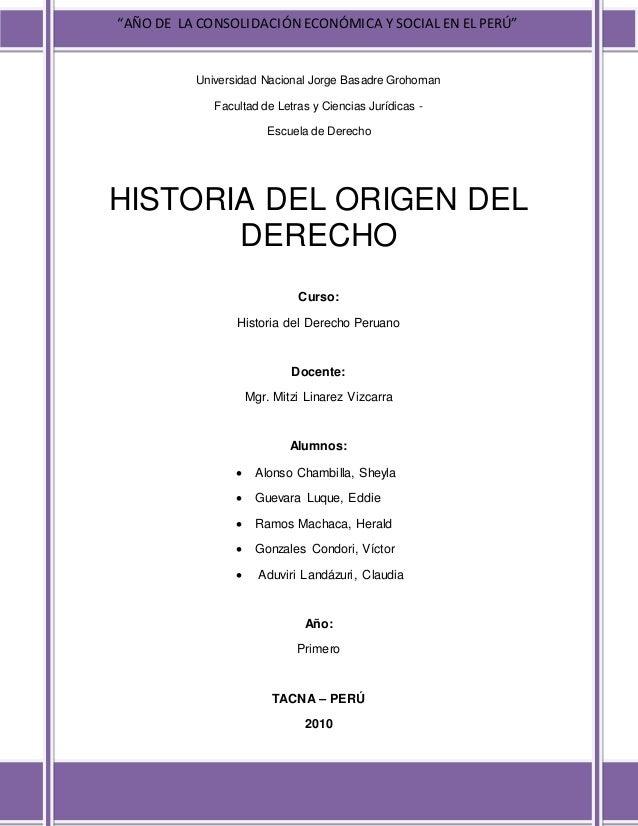 """""""AÑO DE LA CONSOLIDACIÓN ECONÓMICA Y SOCIAL EN EL PERÚ"""" Universidad Nacional Jorge Basadre Grohoman Facultad de Letras y C..."""