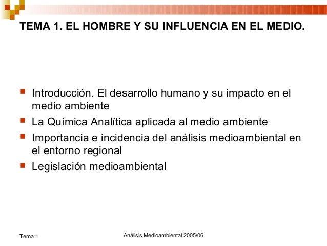 TEMA 1. EL HOMBRE Y SU INFLUENCIA EN EL MEDIO.   Introducción. El desarrollo humano y su impacto en el    medio ambiente...