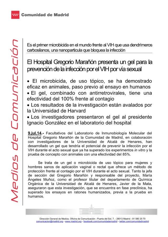 El hospital Gregorio Marañón presenta, junto a Ignacio González, un gel para la prevención de la infección por el vih por ...