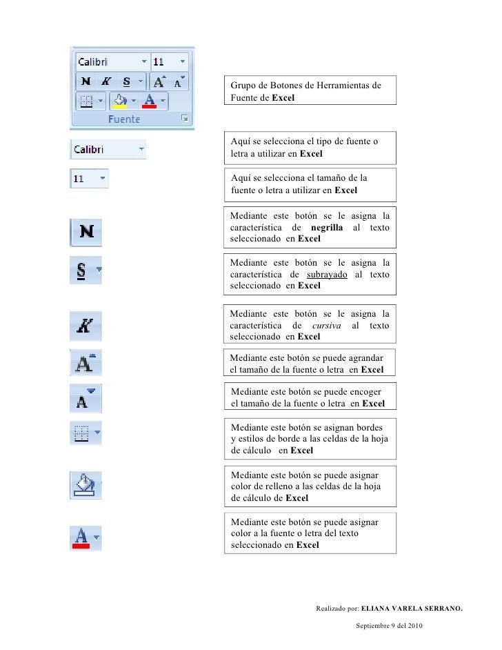 Grupo de Botones de Herramientas de Fuente de Excel    Aquí se selecciona el tipo de fuente o letra a utilizar en Excel  A...