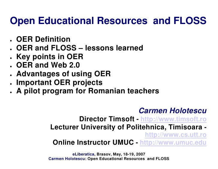 """OER Open Educational Resources and FLOSS"" by Carmen Holotescu @ eLiberatica 2007"