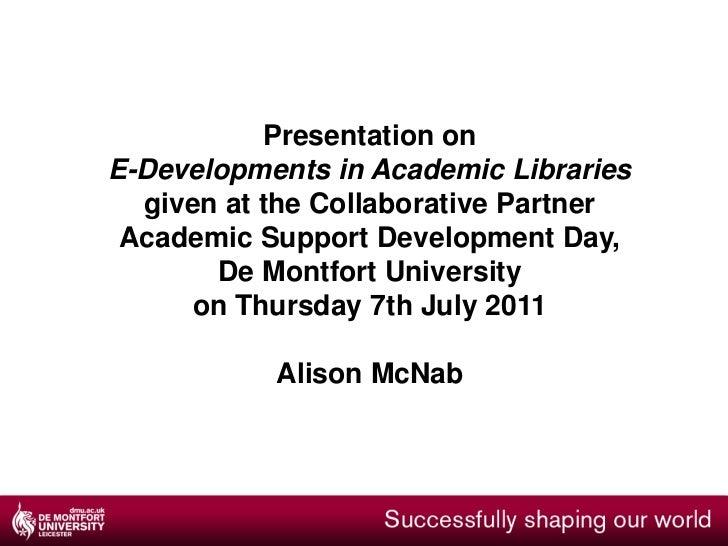 E library developments
