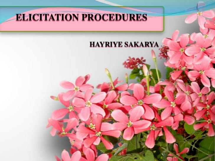 ELICITATION PROCEDURES            HAYRIYE SAKARYA