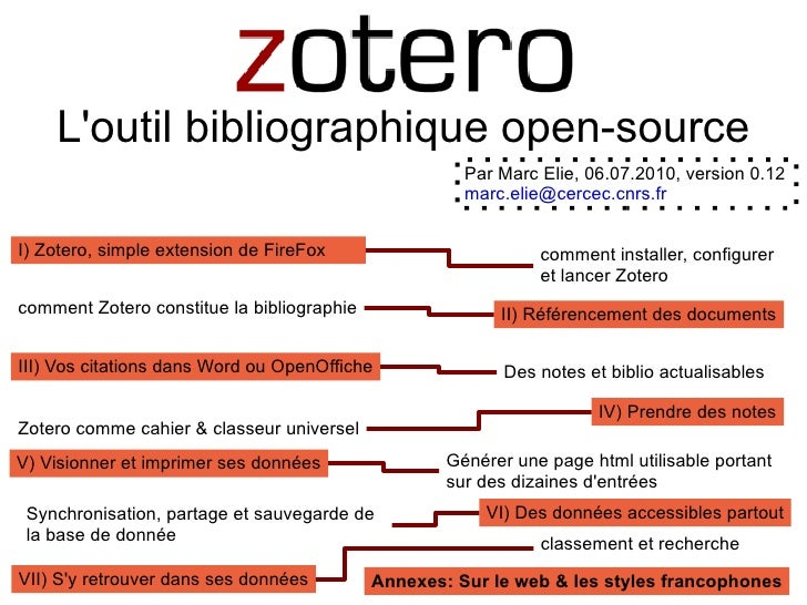 L'outil bibliographique open-source <ul>comment installer, configurer et lancer Zotero </ul>I) Zotero, simple extension de...