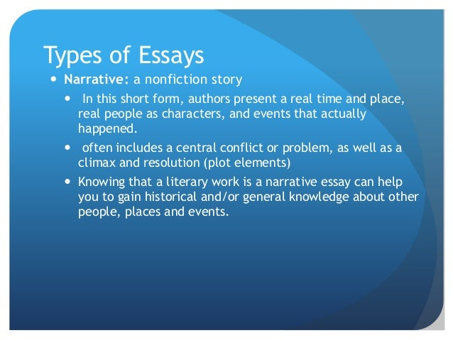 non fiction narrative essays While narrative essays are non-fiction, elements of fiction should not be ignored true stories also benefit from the writer's ability to use plot-building.