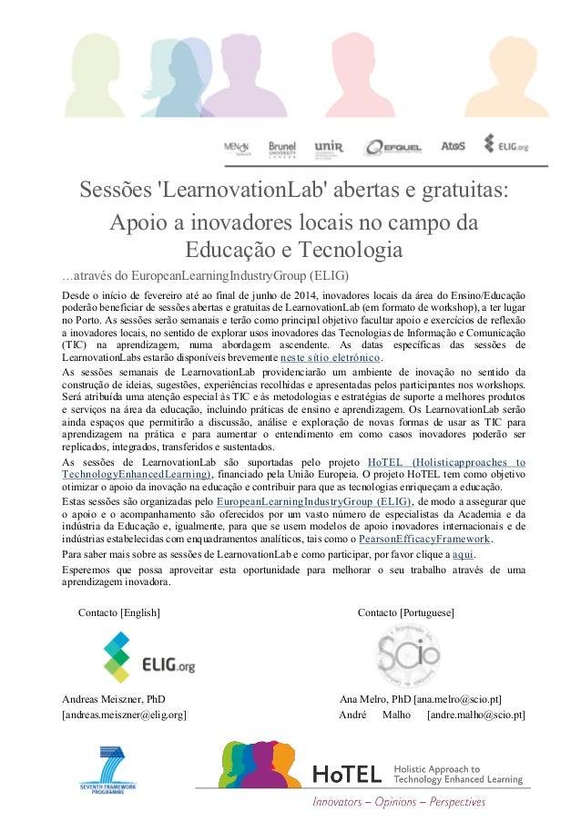 Sessões 'LearnovationLab' abertas e gratuitas: Apoio a inovadores locais no campo da Educação e Tecnologia …através do Eur...