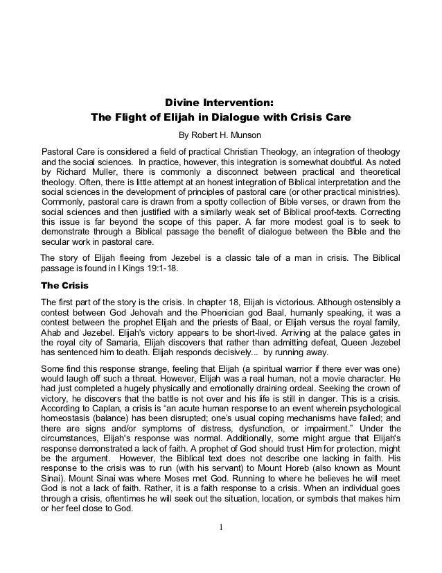 Divine Intervention:             The Flight of Elijah in Dialogue with Crisis Care                                      By...