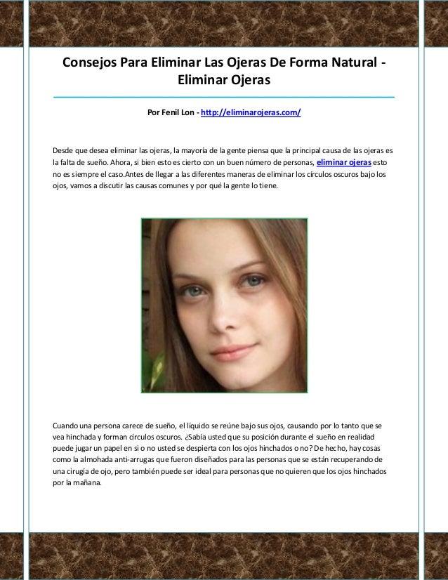 Consejos Para Eliminar Las Ojeras De Forma Natural -                     Eliminar Ojeras__________________________________...
