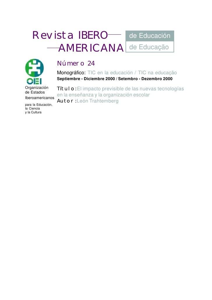 Revista IBERO                                     de Educación          AMERICANA                                     de E...