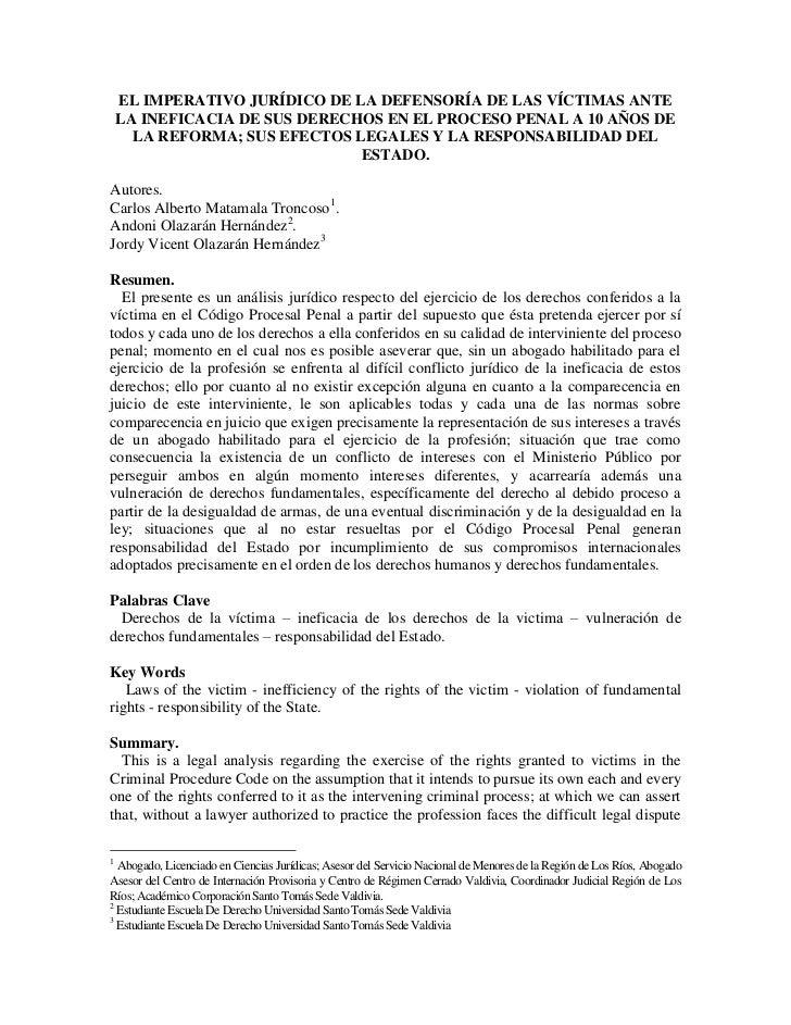 EL IMPERATIVO JURÍDICO DE LA DEFENSORÍA DE LAS VÍCTIMAS ANTE    LA INEFICACIA DE SUS DERECHOS EN EL PROCESO PENAL A 10 AÑO...