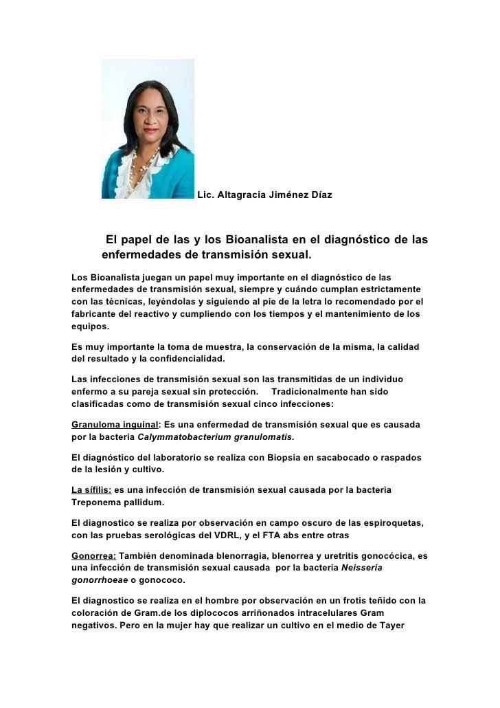 Lic. Altagracia Jiménez Díaz       El papel de las y los Bioanalista en el diagnóstico de las      enfermedades de transmi...